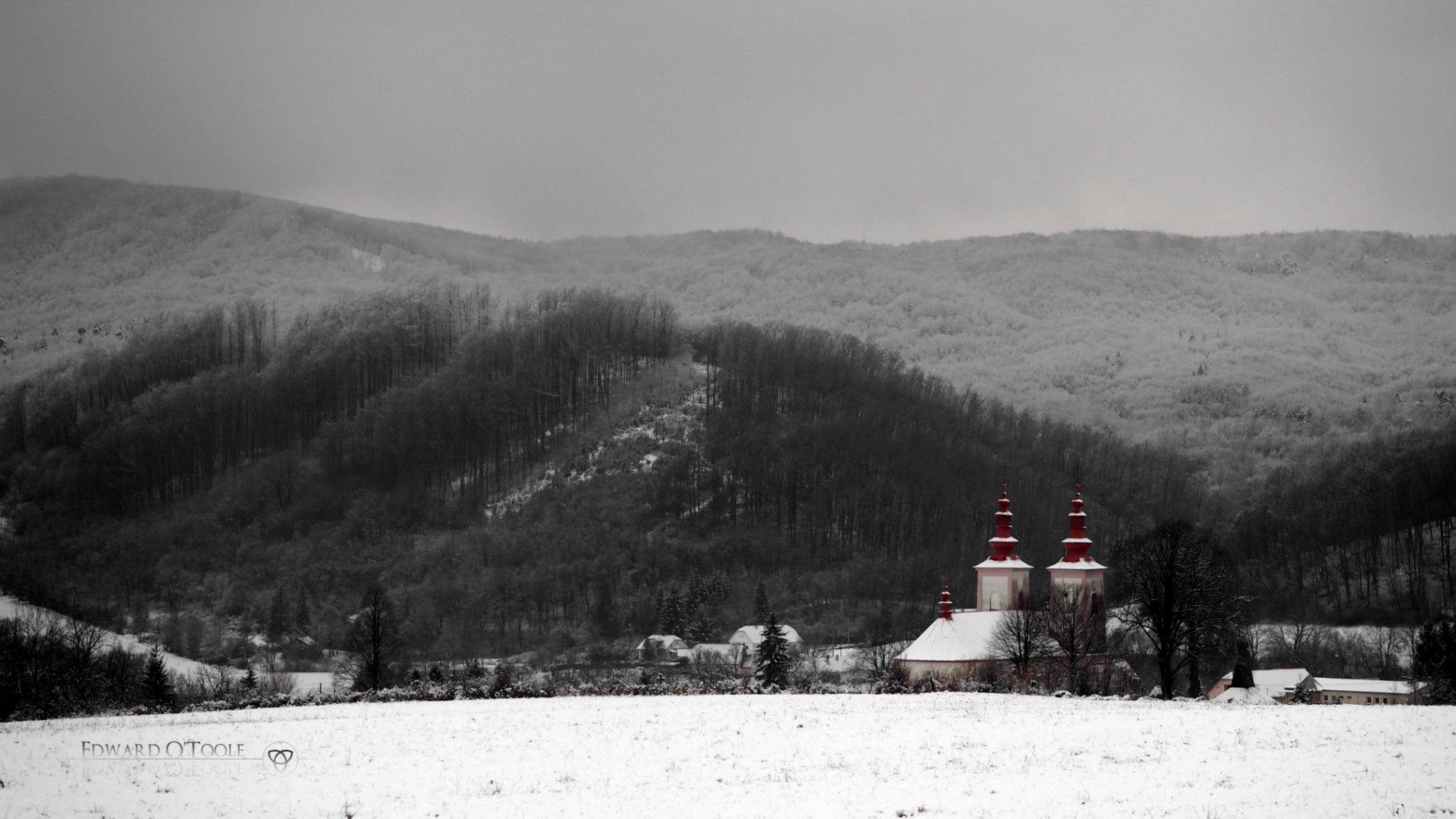 village church in snow